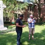 Sharing Communion with Pastor Robert and Mathias