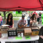 Creative Fundraising! Markie collects and sells vinyl records at street fair